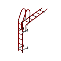 Лестница кровельная стеновая 1860 мм (без кронштейнов) красная